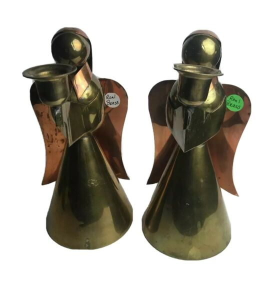 """2 Solid Brass And Copper Angel Candle Holders Christmas Tall 10"""""""