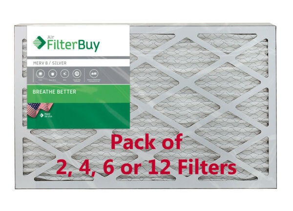 FilterBuy 12x24x1 Air Filters Pleated Replacement for HVAC AC Furnace MERV 8 $28.48