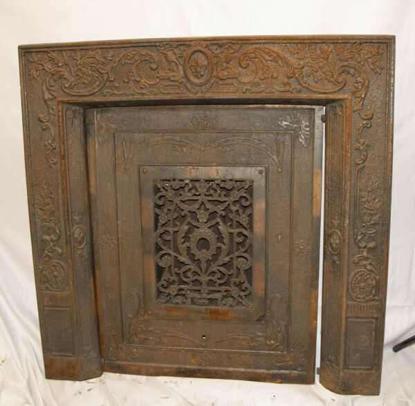 Antique Cast Iron Ornate Fireplace Vent Grate Eastlake Style