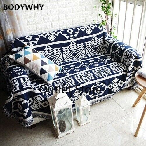 Geometry Bohemia Throw Blanket Sofa Blue Slipcover Non slip Stitching Blanket $34.10