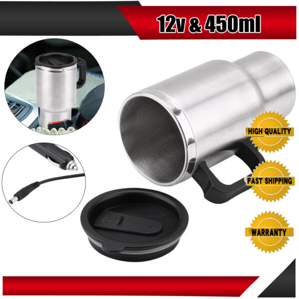 New 450ML Stainless Steel Electric In-car Heating Coffee Cup Mug Universal 12V