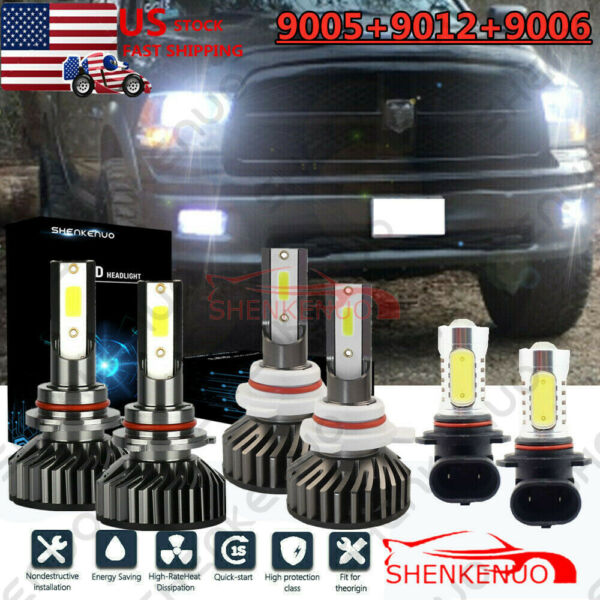 6x 6500K LED Headlight HiLo fog Bulbs For Dodge RAM 1500 2500 3500 2013 - 2015