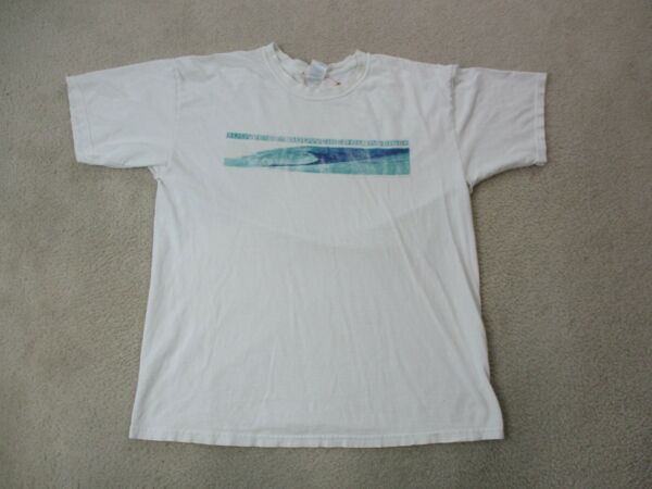 VINTAGE Budweiser Shirt Adult Extra Large White Blue Beer Drinker Bar Mens 90s *