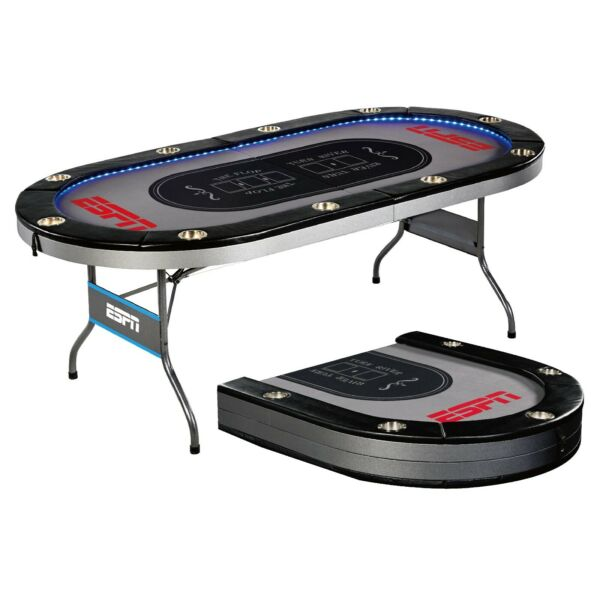 ESPN 10 Player Premium Foldable Poker Table With In-Laid LED Lights Gray
