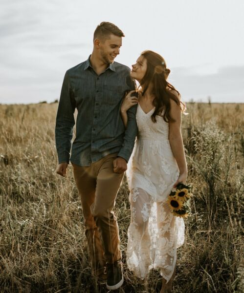 Country Style Lace Wedding Dress Bohemian Sheer Bottom Simple Bridal Gown