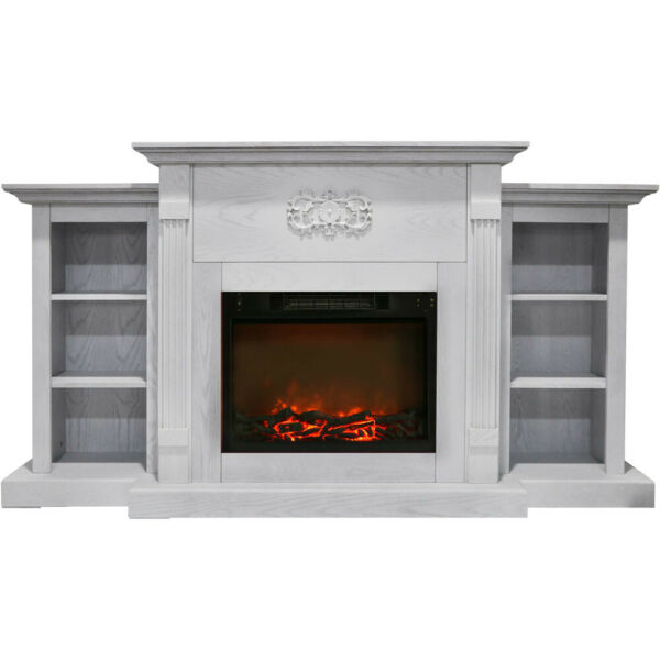 Sanoma 72 In. Electric Fireplace in White with Built in Bookshelves and a 150...
