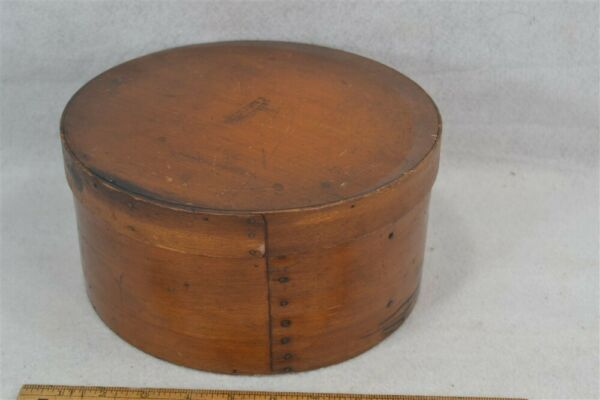pantry box bent wood 10x5quot; round storage Annett Troy NH antique original vg