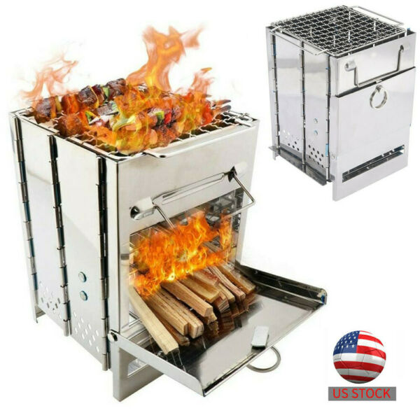 Folded Wood Oven Burner BBQ Backyard Patio Stainless Steel Barbecue Outdoor Cook $31.89