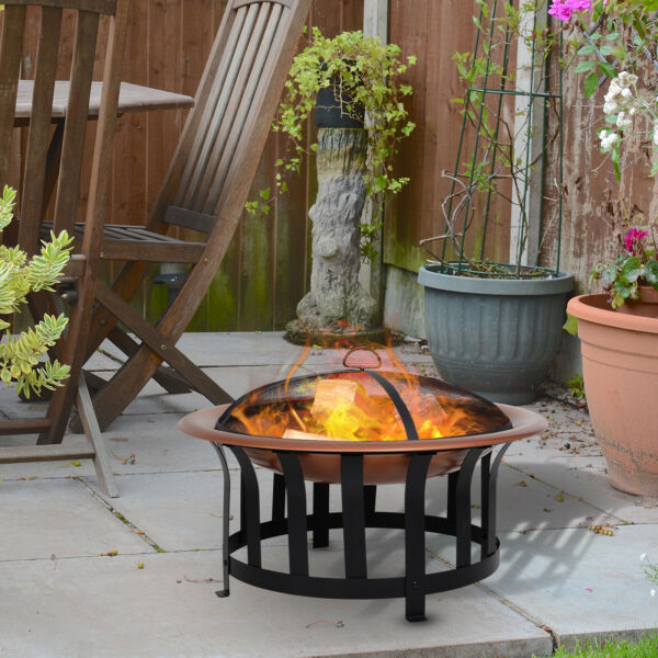 Outsunny Copper-Colored Round Metal Wood Fire Pit Bowl w Black Ornate Base