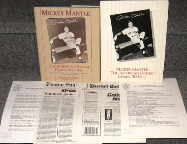 MICKEY MANTLE AMERICAN DREAM COMES TO LIFE 1994 1ST ED DJ WITH PROMO PACKET MINT