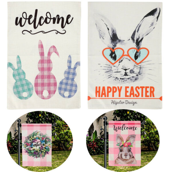 Happy Easter Garden Flag Vertical Double Sided 12.5x18quot; Sping Burlap Yard Decor