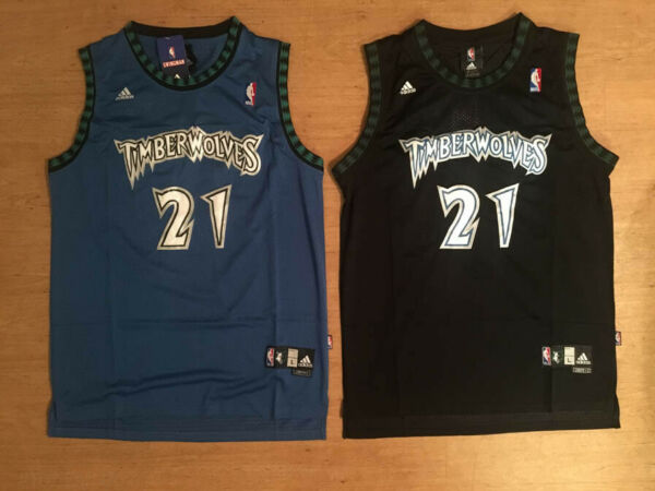 NWT #21 Kevin Garnett Minnesota Timberwolves Mens Throwback Blue  Black Jersey