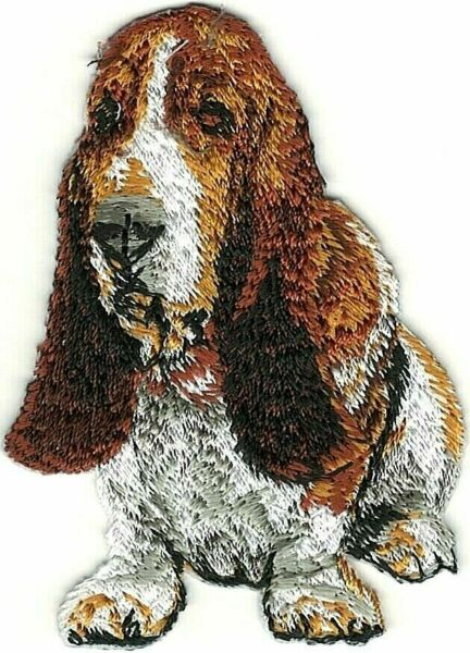 2quot; x 3quot; Siting Brown White Basset Hound Dog Breed Patch $3.99