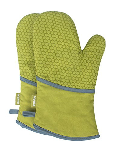 1 Pair Kitchen Oven Mitts Non-Slip Silicone Printed Heat Resistant Oven Gloves