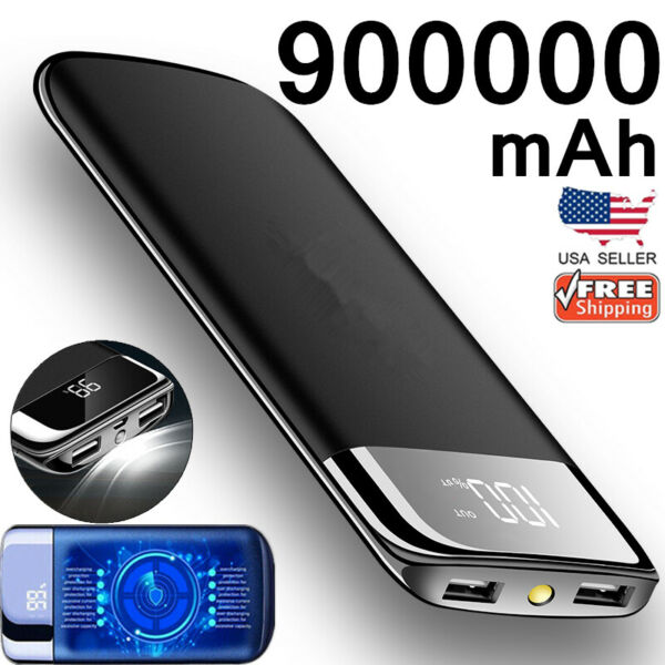 900000mAh Portable Power Bank External Backup Battery Dual USB Charger for Phone