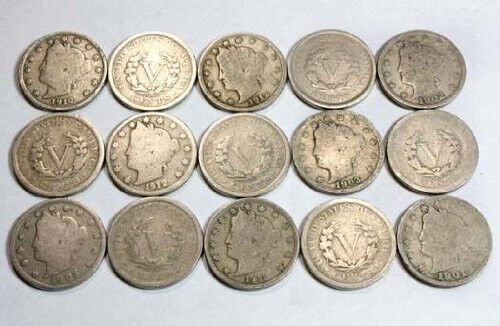 Collection of 15 Liberty Head V nickels