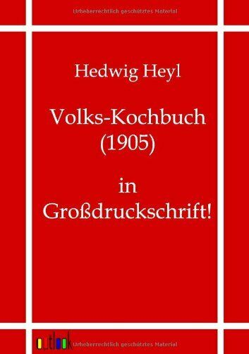 Volks Kochbuch 1905 by Heyl Hedwig New 9783864035067 Fast Free Shipping