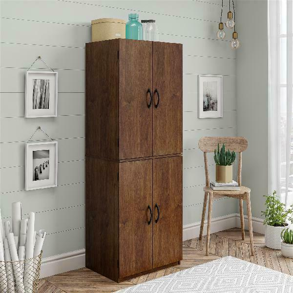 Tall Storage Cabinet Kitchen Pantry Cupboard Organizer Furniture Home Brown