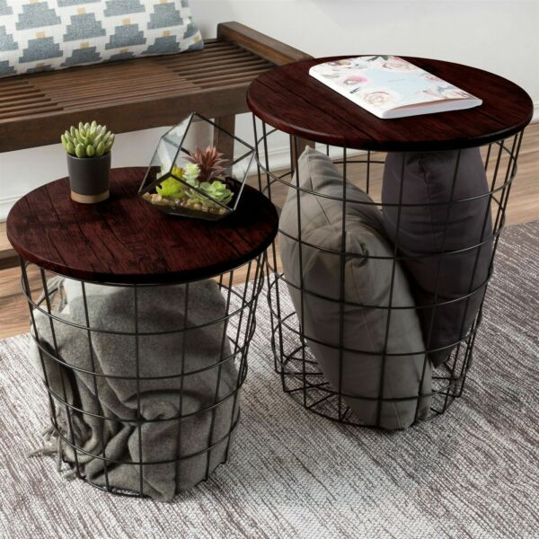 Nesting End Tables Metal Basket Cherry Top Storage Furniture Accent Home Decor