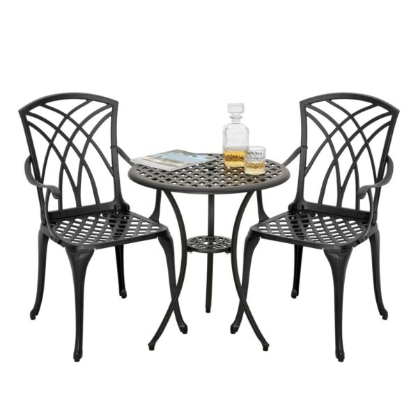 Nuu Garden 3 Piece Outdoor Patio Cast Aluminum Conversation Bistro Set Furniture $175.99
