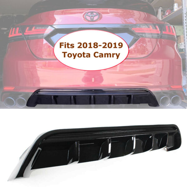 Rear Bumper Diffuser For 2018-2019 Toyota Camry SE XSE GT Shark Fin Glossy Black