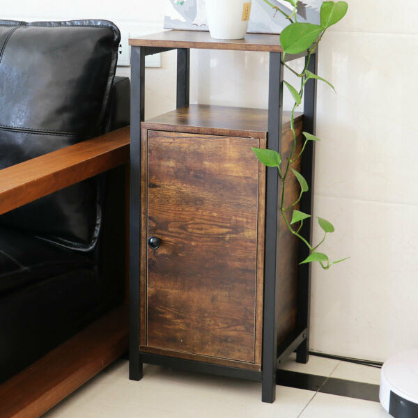 Side Table End Mesh Shelves Industrial Wood and Metal Frame With Storage