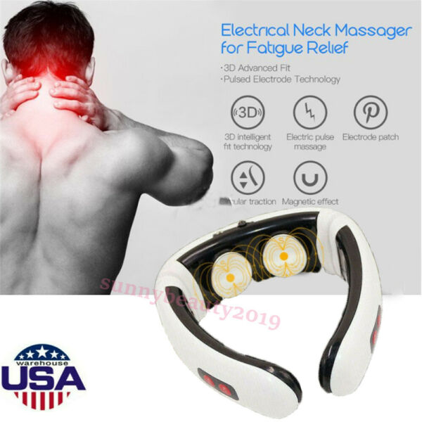 Electric Body Pulse Stimulator Neck Cervical EMS Massager Therapy Pain Relief US