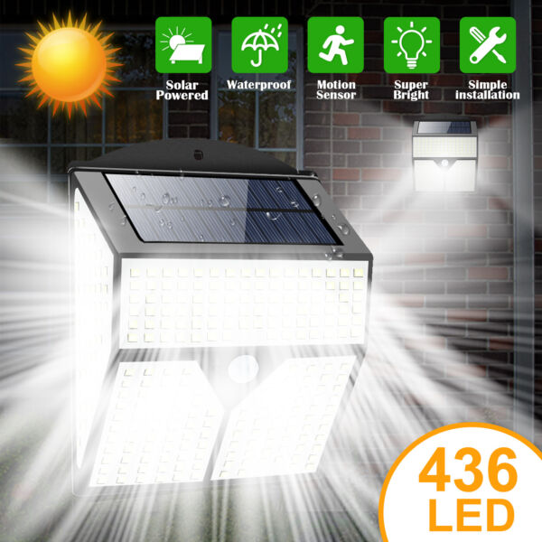 436 LED Solar Power Light PIR Motion Sensor Outdoor Lamp Wall Waterproof Garden