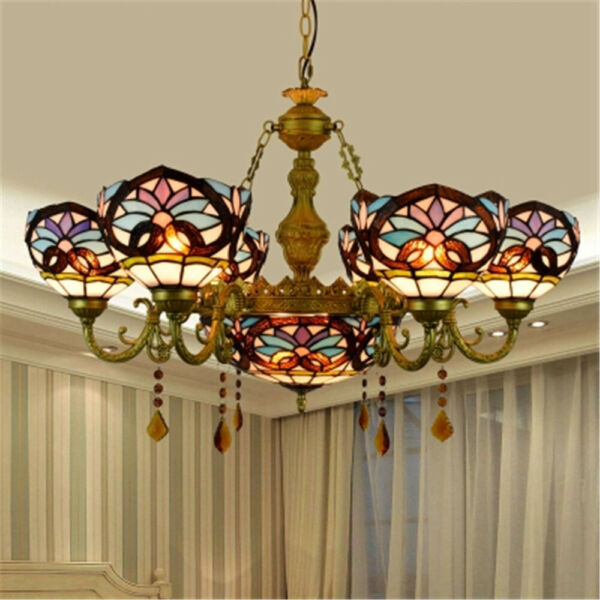 Tiffany Victorian Chandelier Indoor Large Stained Glass Pendant Light Fixture $379.00