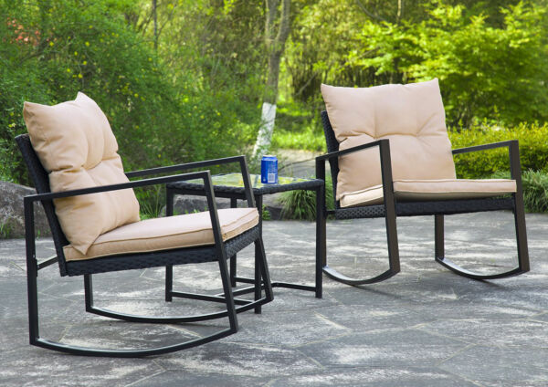 3 Pieces Patio Set Outdoor Wicker Patio Sets Rocking Coffee Table Black
