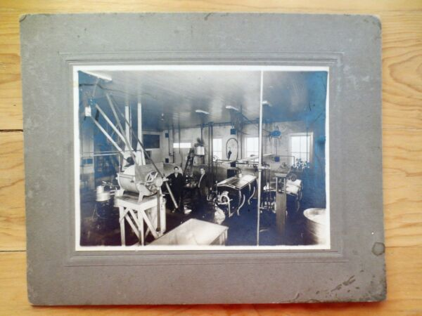 Early 1900s Machine Shop Tools Business Black White Photograph Machinists Men