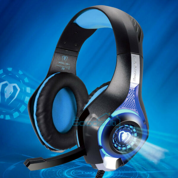 LED Light Up Stereo Gaming Headset w Microphone for PC PS4 Xbox One Nintendo