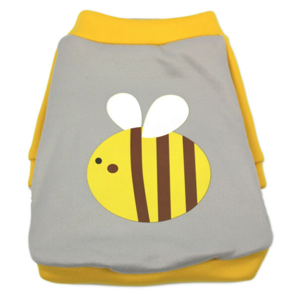 Small Pet Sweater Soft Dogs Clothes Shirt Puppy Apparel Bee Pattern Cute Yellow $13.99