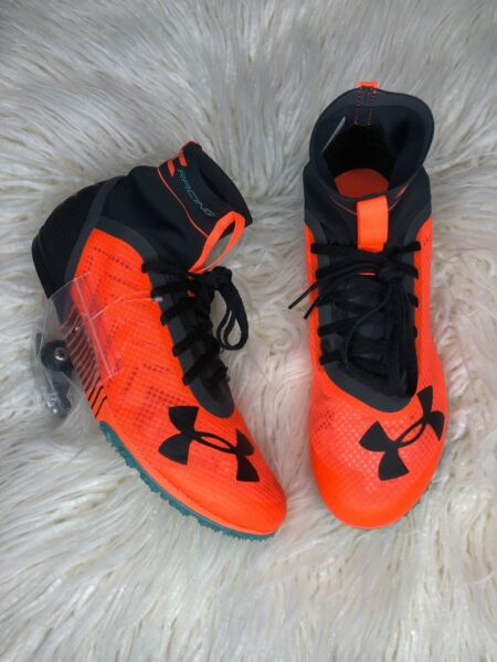 New UNDER ARMOUR XC High 2 Infrared Black Cross Country Spikes Mens 9.510 amp; 11