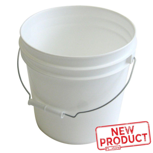 10 PACK Plastic Pails 2 Gallon W Metal Handle Paint Buckets Industrial White