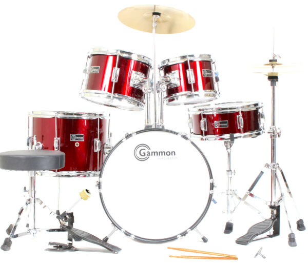 Metallic Red Junior Drum Set with Cymbals Stands Stool Childrens Kids Gammon