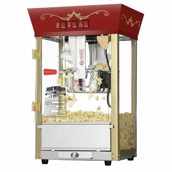 Red Antique Style Popcorn Popper Machine 8 Oz Counter Top Table Bar Top