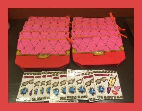 Lot of 10 Estee Lauder Pink Red Printed Cosmetics Makeup Travel Bags w Stickers $12.99