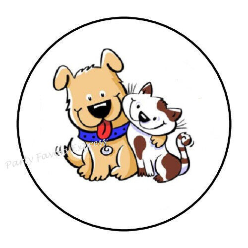30 CUTE DOG AND CAT ENVELOPE SEALS LABELS STICKERS PARTY FAVORS 1.5quot; ROUND $1.95