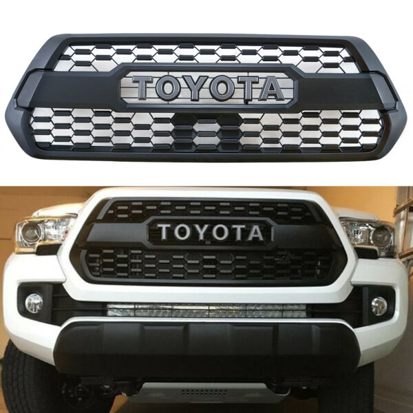 Front Grille Bumper Hood Matte Black Grill with Letters Fit For Tacoma 2016-2019