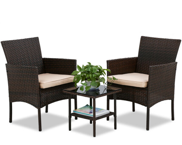 Outdoor Patio Furniture Sets 3 Pieces Patio Set Wicker Bistro Set Rattan Chair