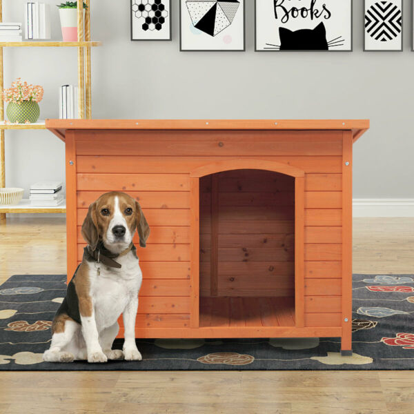 Outdoor Deluxe Slant Roofed Wood Dog Pet House Shelter Kennel with Open Entrance $129.99