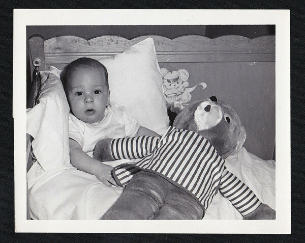 Vintage Antique Photograph Adorable Baby in Cute Old Time Bed With Teddy Bear