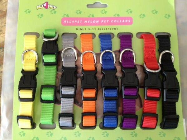Nylon Puppy Small dog Collars 8 Pack Full Adjustable FREE SHIPPING $14.99