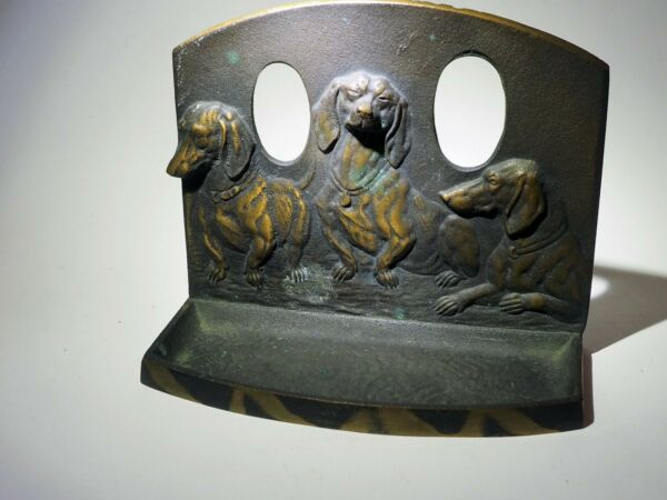 Antique metal dogs 3 Doxie Bookend Pipe holder Three Dachshunds Bronze patina $175.00