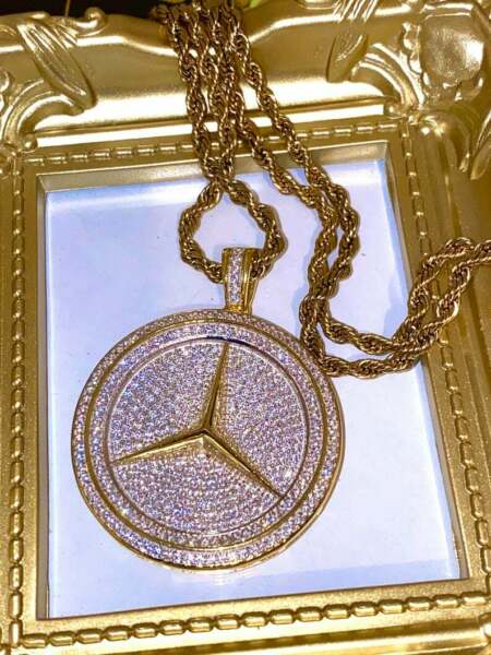1.25 ct Round Simulated Diamond Men's Mercedes Symbol Pendant with Rope Chain