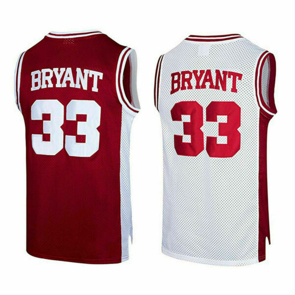 Kobe Bryant 33 Lower Merion High School Men's WHITE  RED Sewn Basketball Jersey