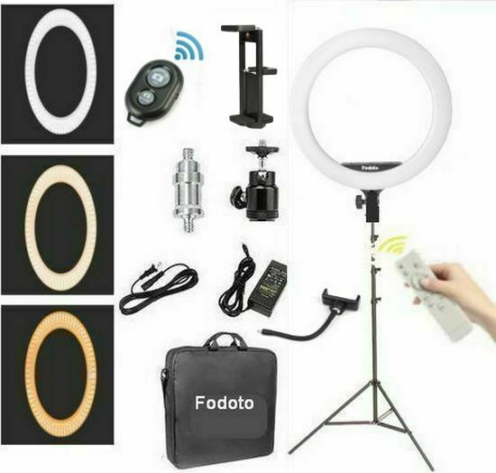 Fodoto 18quot; inch BiColor LED Ring Light Kit with Stand Social Media Beauty Shoot