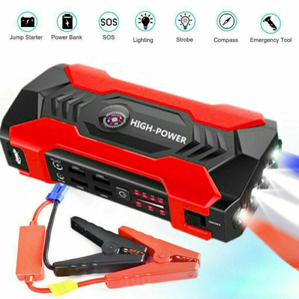 Car Jump Starter 1000A Peak 20000mAh Portable Charger with LED Flash Light