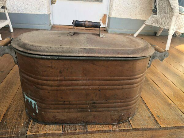 Antique Vintage Copper Boiler wLid Wash Tub Fireplace Wood Planter Great Patina